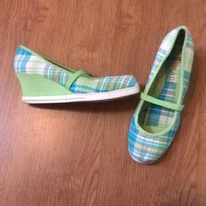 Rampage Shoes - Blue, green, & white plaid Rampage wedges checker